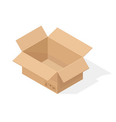 open brown paper cardboard box isometric style vector image
