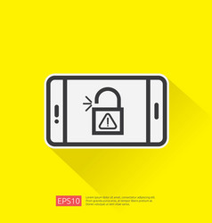 open unlock padlock on mobile phone screen icon vector image