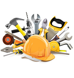 orange construction helmet with hand tools vector image