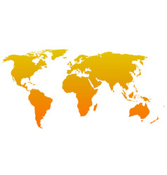 Orange silhouette of world map Simple flat vector