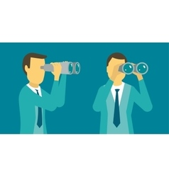 Person man looking ahead in the right through vector image