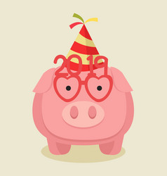 pink pig in a party hat vector image