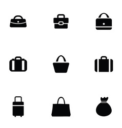 Purse bag icons set vector