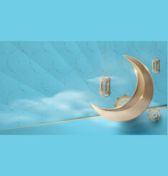 ramadan kareem gold moon and elements background vector image