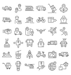 Relocation icons set outline style vector