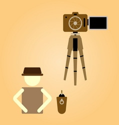 Remote shooting portrait myself concept vector