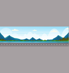 road near river mountain forest woods natural vector image