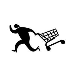 Running man drag shopping cart icon vector