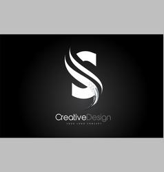 S letter design brush paint stroke on black vector