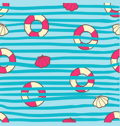 Seamless summer pattern with color life ring and vector