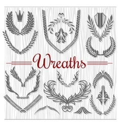 Set of Retro Wreaths for Award Achievement vector