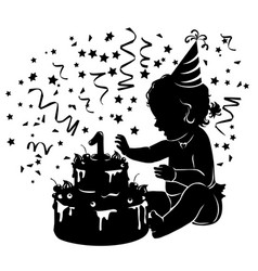 Silhouette baby girl with birthday cake vector