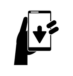 Silhouette hand holds smartphone download vector