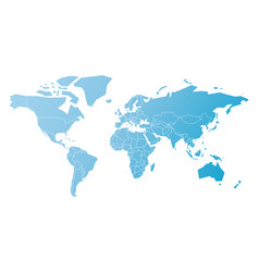 simplified map of world in blue schematic vector image