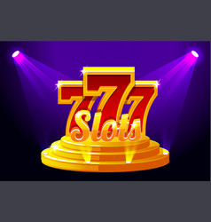 Slots 777 banner casino on stage podium vector