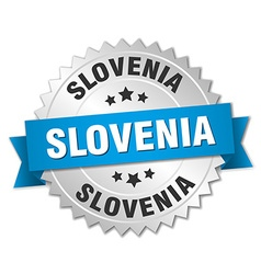 Slovenia round silver badge with blue ribbon vector image