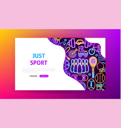 sport neon landing page vector image