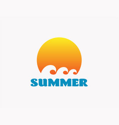 summer beach surf icon emblem vector image
