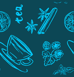 tea seamless pattern vector image