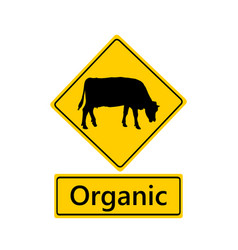 Traffic sign for organic dairy farming vector