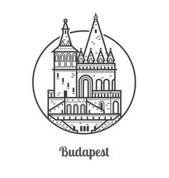 Travel budapest icon vector