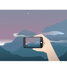 Travel photo sunrise in mountains vector