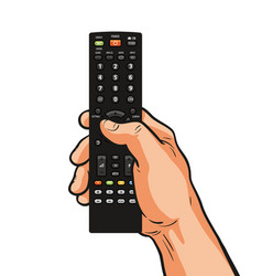 Tv remote control in hand television video film vector