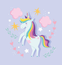 Unicorns with rainbow mane clouds stars floral vector