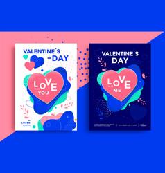 valentines day poster or flyer design vector image