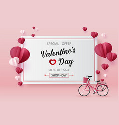 Valentines day sale with balloon heart shape vector