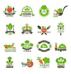 Vegan emblem fresh eco healthy food market vector