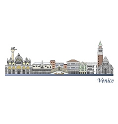 Venice skyline colored vector