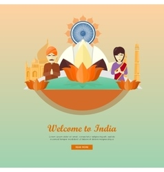 Welcome to India Flat Style Web Banner vector