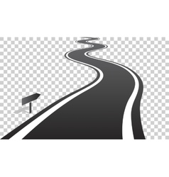 Winding road with white lines leaving over the vector