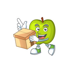 With box character granny smith green apple with vector