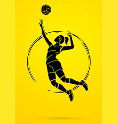 woman volleyball player action cartoon graphic vector image