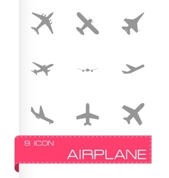Black airplane icon set vector