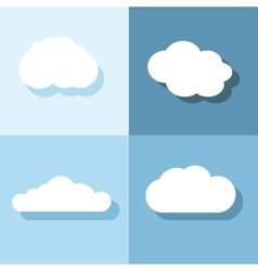 Cloud flat icons with shadow on blue background vector image vector image