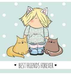 cute girl with cats doodle vector image