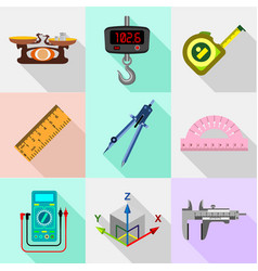 measure tools icons set flat style vector image