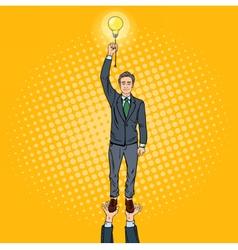 Pop Art Businessman with Lightbulb vector image vector image