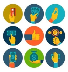 Set of colorful money in hands icons vector image vector image