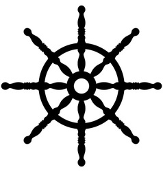 Ship wheel silhouette isolated on white vector image vector image