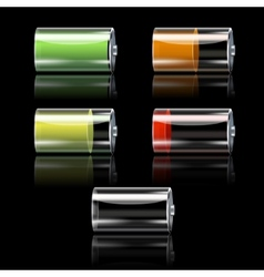 Battery set with different charge levels vector