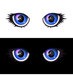 Blue Cartoon Anime Eyes Set vector image vector image