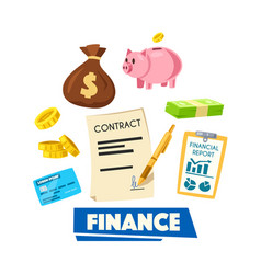 finance poster with money banking card and report vector image