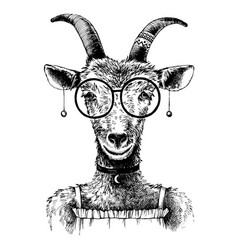 Hand drawn goat hipster vector