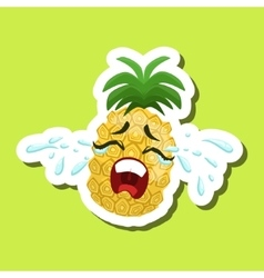 Pineapple Crying Out Loud Cute Emoji Sticker On vector image vector image