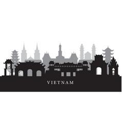 vietnam landmarks skyline in black and white vector image vector image