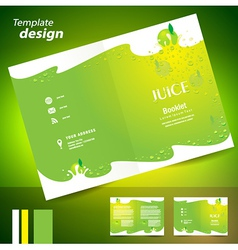 brochure folder juice fruit drops liquid fruit vector image